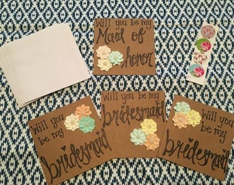 Set of 4 Bridesmaid Cards