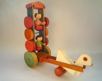 VINTAGE GRODNERTHAL FOLK Art Rare Pull Toy Duck w/ Rotating Dolls, Subtle Art deco colors, South Tyrol Austria Italy 1930s