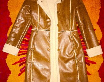 70's Faux Leather Fur Trimmed Jacket