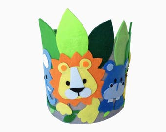 Felt birthday crown, party crown, headdress, jungle animals crown, wild animals crown,kids crown, party hat, dress up