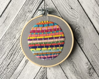"Textural Stripes Embroidery - 4"" Hoop"