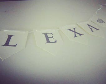 Personalised name bunting | Letter | Personalised | Gift |Name | Nursery | Home | Bunting | Hearts | Room | Kids | Adults | Pretty | Word