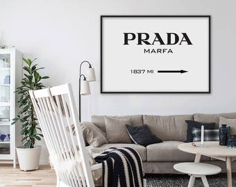 Prada Marfa Print, Prada Poster, Prada Marfa Sign, Modern Print, Fashion Print, Prada Marfa Printable, Typography Black and White