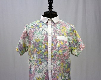 Shirt cotton and stamped flowers pastel shades