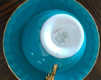 Aynsley teal fruit teal cup and saucer