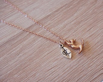 Collar cat, gold rosé, initial necklace cat
