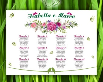 Tableau Mariage Romantic Flowers E - Wedding Seating Chart printable with flowers - Tables List - Weddingseat - Wedding Seating Chart