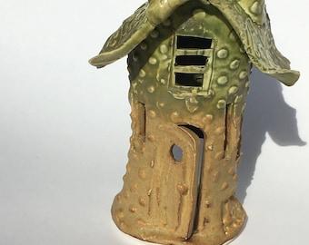Clay Tealight Fairy House for Fairy Garden