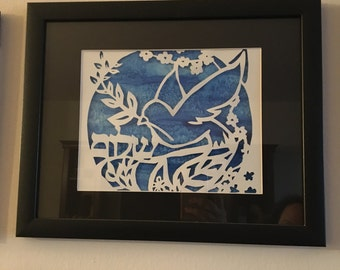 Shalom / peace dove 11x14 paper cutting