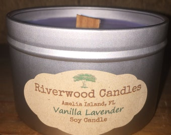 Vanilla Lavender All Natural Wood Wick Soy Candle