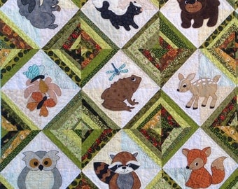 PDF Forest Friends: Hide & Seek Applique Quilt PDF Pattern