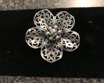 Vintage Beau Sterling Silver Flower Brooch