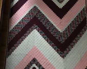 Lavender multi-colored zig-zag hand-crocheted afghan