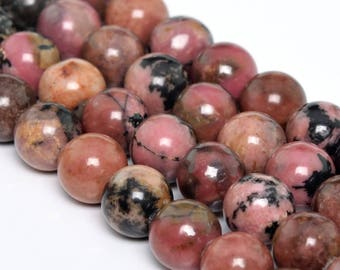 "10MM Rhodonite Natural Gemstone Full Strand Round Loose Beads 15"" (101194-346)"