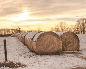 Snow Blanket Mounted Farm Photo Print