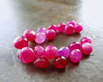 Hot Pink chalcedony and Quartz smooth onion briolettes 7-9mm.