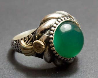 Sterling Silver Men Ring , Natural Jade Gemstone, İslamic Ring, Express Shipping