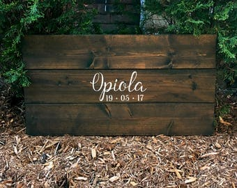 Simple Rustic Custom Text and Wedding Date | Wood Guest Book | White on Wood | Custom
