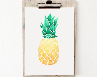 Watercolour Pinapple Print