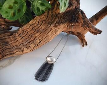 Silver Black Metal Fringe Statement Necklace statement necklace fringe necklace bib necklace tassel necklace unique necklace