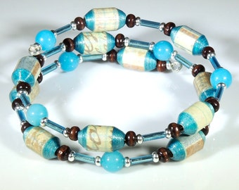 Personal Note (Upcycled Paper Bead Bracelet/SB0013)