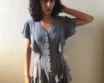 Vintage 80's Ruffle Tiered Dress