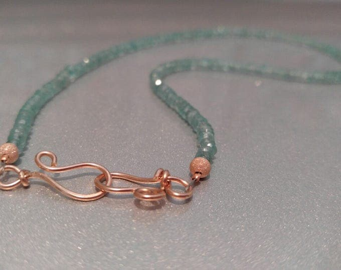Blue Apatite Choker necklace with 14kt Rose Gold Clasp and beads 15 3/4 inch length