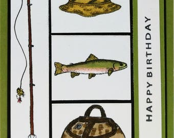Handmade Birthday Card, Masculine Birthday Card, Fishing Birthday Card, Greeting Card, Guy Card