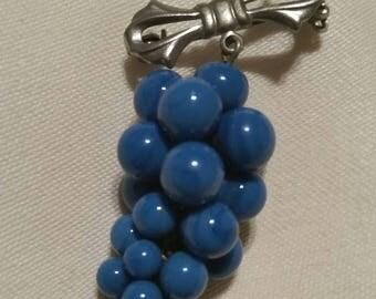Vintage Handmade Swirl Glass Grape Cluster Brooch