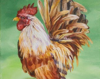 Original Acrylic Rooster Bird Painting