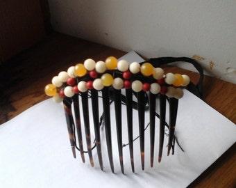 Ancient tiara comb, pearls