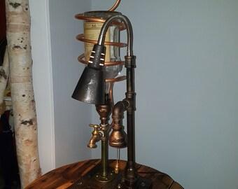 Steam punk lamp with liquor dispenser