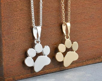Paw Print Necklace - Gold/Silver Paw Print Necklace - Tiny Paw Print Necklace - Cat Dog Lovers Jewelry Pet Memorial Necklace Pet Jewelry