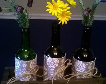 Rustic Wooden Box for Wine Bottle Centerpiece, Wine Bottle Holder, Handmade, Made to Order