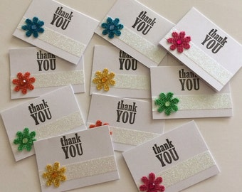 Thank You Card, Thank you Mini Card, Mini Cards, Cards, Flower Cards, Thank You Shop Card, Set of 10