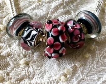 Murano Glass Beads, 5 Beads Set, Lampwork Glass Beads, Large Hole Beads