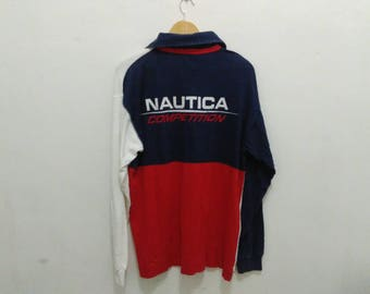 Vintage Nautica competition rugby shirt mens M colorblock multicolor spellout big logo vintage 90s nautica
