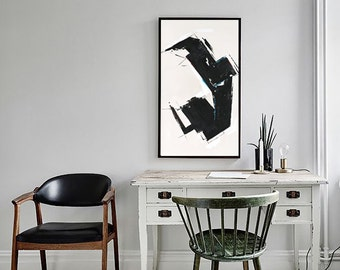 Abstract Painting Geometric Painting Black White Abstract Painting Nice Wall Art Large Abstract Painting Office Decor