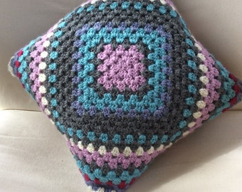 Hand crocheted granny square pillow cover / cushion cover