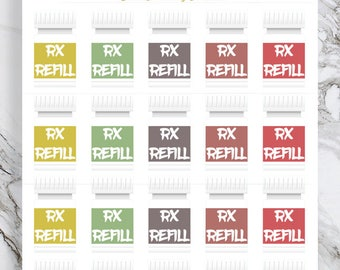 Pill Bottle Stickers, Prescription Refill Reminder Stickers, Rx Refill Stickers, Medicine Planner Stickers,