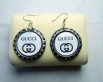 GUCCI emblem earrings made from recycled bottle tops and 925 sterling silver shepherd hooks - 'GUCCI' emblem