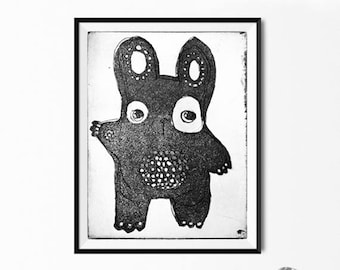 Black Bear, Cute, Light Grey Background Digital Download, Photograph of a Hand Made Etching Print