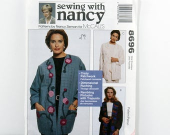 McCall's Pattern 8696, Lined Jacket, Size S-XL, Loose-Fitting, Ruched Flower Design, Jacket with Pockets, Patchwork Jacket, Pintuck Design
