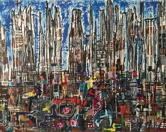 City Rife. Abstract painting, Large canvas, modern, acrylic painting, Abstract, abstract art ,canvas art, modern, original