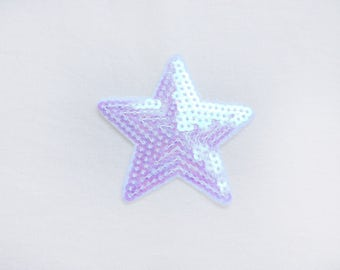 1x sequins iridescent white pink blue mermaid glitter purple shiny star patch love burlesque Iron On Embroidered Applique