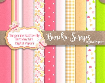 Digital Background Papers Tangerine Butterfly Birthday Girl