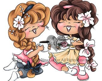 Instant Download Digital Stamp Digi Stamp Tea Time Curly Girls by Dina Gerner