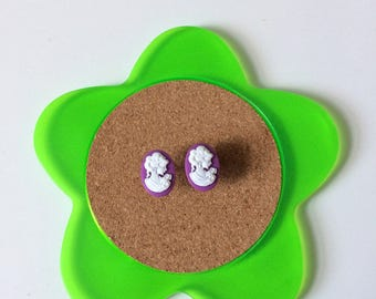 Handmade purple and white silhouette stud earrings