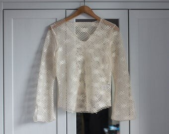1980 80s Vintage top Beige mesh Short blouse Women girl Sexy retro fashion Ecru See Through Delicate Subtile Simple / Small Size /