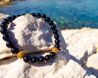 mens black and gold Bead Bracelet